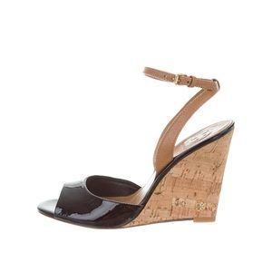 Tory Burch patent leather cork wedges
